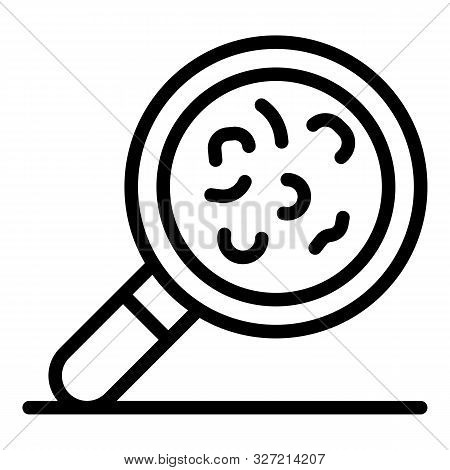 poster of Virus Under Magnify Glass Icon. Outline Virus Under Magnify Glass Vector Icon For Web Design Isolate