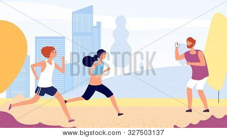 poster of Running Training. Female Running Competition Vector Concept. Flat Women Run In Park, Coach With Stop