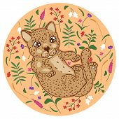 Cute Spotted Leopard Kitten With Abstract Tropical Flowers, Leaves And Plants On Beige Background, C poster