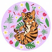 Cute Tiger Kitten With Abstract Tropical Flowers, Leaves And Plants On Purple Background, Cartoon Dr poster