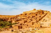 Unesco Heritage Ait Ben Haddou Kasbah In Morocco. Tourist Attraction poster