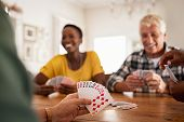 Closeup of woman hand holding playing cards. Group of mature friends relaxing and playing cards toge poster