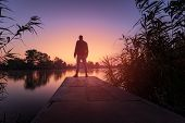 Man Looks At Dawn / Early Morning Dawn On The River poster