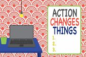 Conceptual Hand Writing Showing Action Changes Things. Business Photo Showcasing Doing Something Wil poster