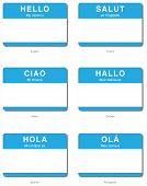 Постер, плакат: Иностранный язык Hello стикера в европейских