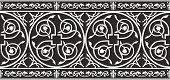 Seamless Black-and-white Gothic Floral Vector Border With Fleur-de-lis