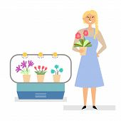 Girl Sells Flowers. Small Business Selling Flowers And Pots poster