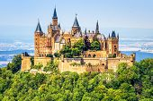 Hohenzollern Castle Close-up, Germany. This Fairytale Castle Is Famous Landmark Near Stuttgart. Scen poster