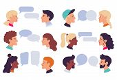 Speaking People. Couple Conversation, Dialogue Bubbles And Chat Avatars Profile Portraits Talk Toget poster
