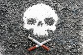 Two Crossed Bone-shaped Smoking Cigarettes Lie Next To A Skull Formed By Tobacco Ash. Jolly Roger. C poster