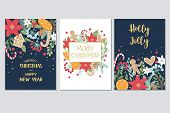 Christmas And New Year Gift Cards Collection With Hand Draw Lettering And Christmas Floral Elements. poster