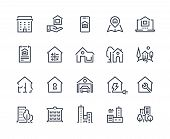 House Line Icons. Town Houses City Buildings And Constructions, Homepage Browser Interface Icons. Ve poster
