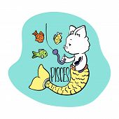 Pisces Astrological Zodiac Sign With Cute Cat Character. Cat Zodiac Icon. Kitten Pisces Sticker. Bab poster