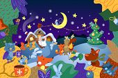 Christmas Scene With Animal Character And Fir Tree. Cute Animal Character In Festive Winter Scenery. poster