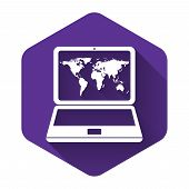 White Laptop With World Map On Screen Icon Isolated With Long Shadow. World Map Geography Symbol. Pu poster