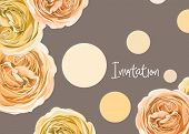 Floral Invitation With Gentle,elegant Hand Drawn Roses For Wedding Or Celebration Invitation. Invite poster