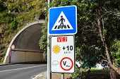 Road Signs In Madeira, Portugal. Blue Zebra Crossing Sign. White Speed Limit Sign. The Speed Restric poster