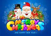 Cheerful And Bright Congratulation Design With Fun Christmas Company Santa Claus, Snowman And Reinde poster