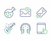 New Mail, Guitar And E-mail Line Icons Set. Headphones, Chemistry Lab And Tablet Pc Signs. Add E-mai poster
