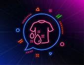 Wash T-shirt Line Icon. Neon Laser Lights. Laundry Shirt Sign. Clothing Cleaner Symbol. Glow Laser S poster
