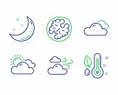 Windy Weather, Walnut And Cloudy Weather Line Icons Set. Moon Stars, Thermometer Signs. Cloud Wind,  poster