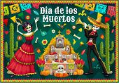 Dia De Los Muertos Altar And Dancing Skeletons Vector Design Of Mexican Day Of The Dead. Catrina And poster