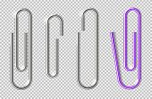 Paper Clips. Realistic Metal Clip For Paper Sheets. Office Paperclips, School Stationery. Holders Fo poster