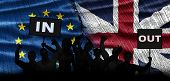 Political Relationships. British Flag And European Flag. Background. Crisis Concept. Protest People. poster