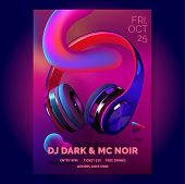 Club Poster With Headphones, Dance Party, Fluid Design Flyer, Invitation, Banner Template, Dj Music  poster