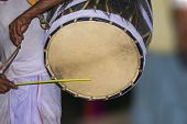 A Drummer Called Dhaki In Bengal Or West Bengal Plays A Special Drum Called Dhak During The Durga Pu poster