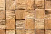 Wooden Background. Background Of Wooden Squares. Light Brown Wooden Background poster