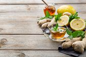 Ginger Tea With Lemon, Mint And Honey For Flu Cold poster