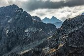 High mountain peaks and stormy clouds. Tatra Mountains in Poland. View from Koscielec peak poster
