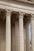 Vintage Old Justice Courthouse Column. Neoclassical colonnade with corinthian columns as part of a p poster