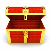 foto of treasure chest  - Illustration of wooden treasure chest on white background - JPG