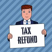 Conceptual Hand Writing Showing Tax Refund. Business Photo Showcasing Refund On Tax When The Tax Lia poster