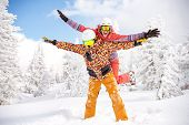 Happy Couple Skier And Snowboarder Are Having Fun At Ski Resort. Ski Winter Sports Concept poster