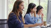 Customer Support Agent Or Call Center With Headset poster