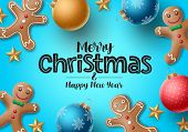Christmas Gingerbread Vector Background. Merry Christmas Greeting Text With Colorful Xmas Elements O poster