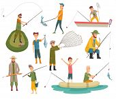 Fisherman Flat Icons. Fishing People With Fish And Equipment Vector Set. Fishing Equipment, Leisure  poster