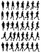 stock photo of long distance  - 40 high quality male marathon runners silhouettes - JPG