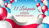 November 11, Poland Independence Day, Vector Template With The Polish Flag And Colorful Balloons On  poster
