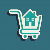 Green Shopping Cart With House Icon Isolated On Blue Background. Buy House Concept. Home Loan Concep poster