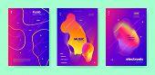 Blue Dj Poster. Electronic Festival. Purple Gradient Banner. Neon 3d Fluid Design. Colorful Dj Layou poster