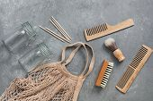 Zero Waste. Bath And Household Accessories. Cotton Bag, Glass Jar, Wooden Comb, Wooden Shaving Brush poster