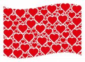 Waving Red Flag Collage. Vector Valentine Heart Icons Are Placed Into Conceptual Red Waving Flag Col poster