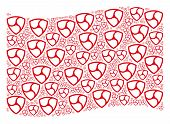 Waving Red Flag Collage. Vector Trinity Shield Elements Are United Into Mosaic Red Waving Flag Colla poster
