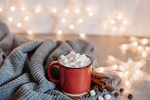 Christmas Cocoa Header With Marshmallows, Chocolate Crumbs, And Syrup. Large Coffee Cup With Homemad poster