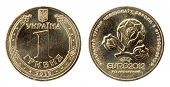 Euro 2012. Ukrainian Coins 1 Grivna On The White Background (2012 Year)