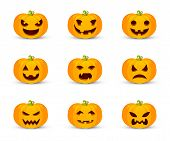 Pumpkin Faces Flat Vector Illustration Set. Halloween Symbol With Carved Facial Expressions. Smiling poster